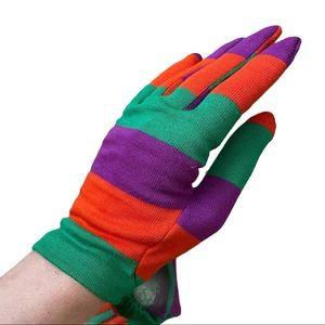 NWOT Vintage 1960s Hansen Striped Fabric Gloves